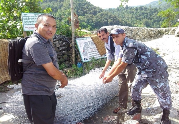 Making roads safe with gabions after a landslide in Lumle