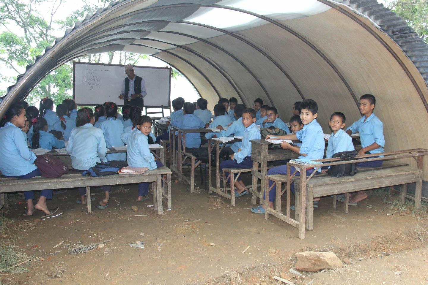 Children in temporary learning center